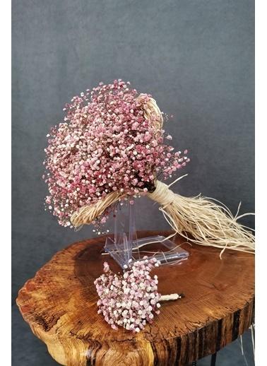 Kuru Çiçek Deposu Gelin Buketi Pembe Cipsolu 2'Li Set Pembe